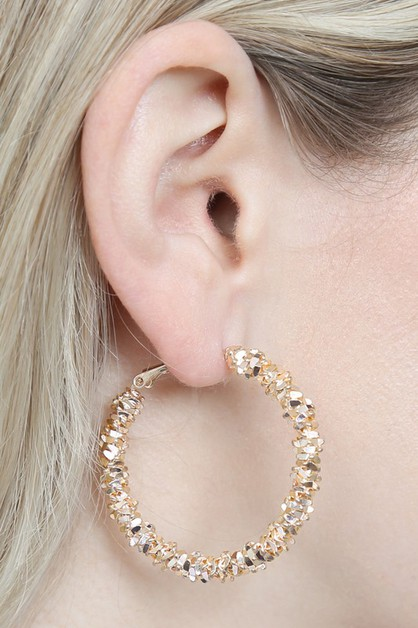 METAL BEADS HOOP EARRINGS - orangeshine.com