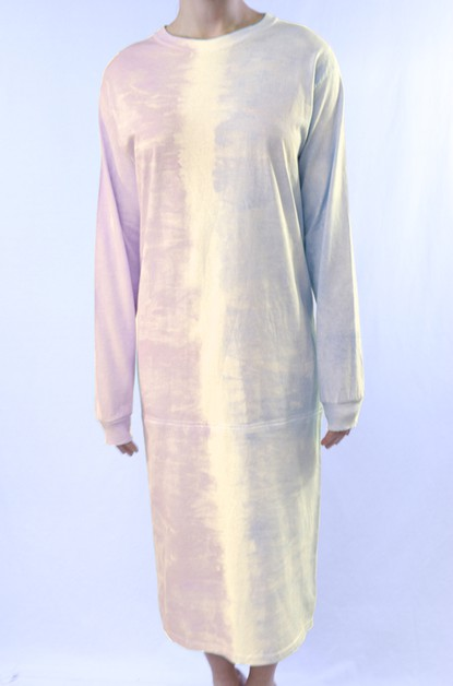 Two-Tone Tie-Dye T-Shirt Dress - orangeshine.com