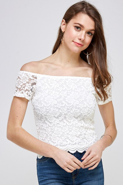 CROCHET OFF SHOULDER TOP - orangeshine.com
