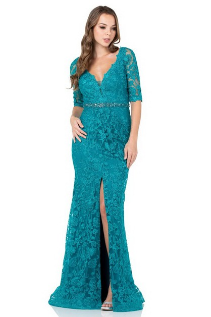 Evening Dress With Sleeve - orangeshine.com