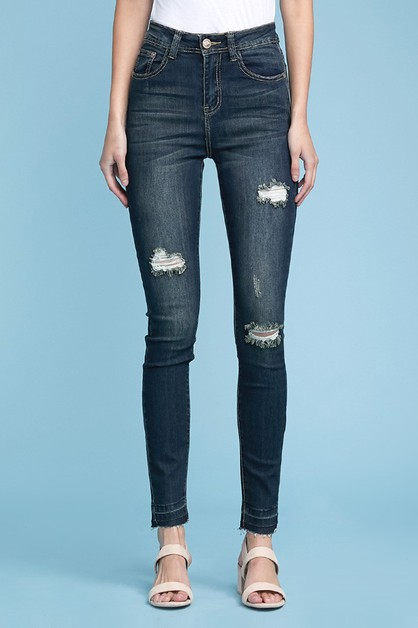 HIGH WAISTED WHISKER DISTRESS JEANS - orangeshine.com