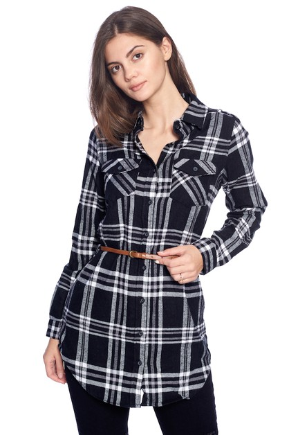 PLAID FLANNEL LONG BELT SHIRT - orangeshine.com