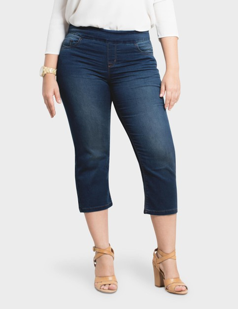 Plus Size Stretch Denim Pull Up Pant - orangeshine.com