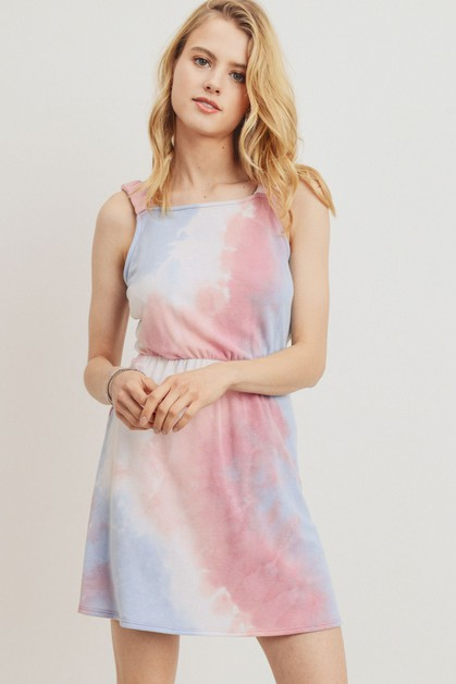 Tie-Dye French Terry Back Tied Dress - orangeshine.com
