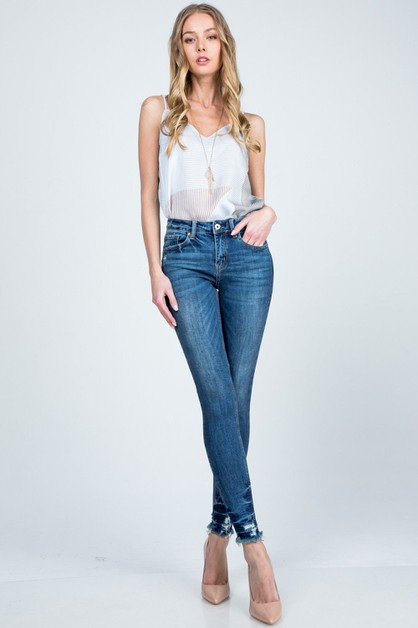 MID RISE ANKLE SKINNY WITH RELEASED  - orangeshine.com