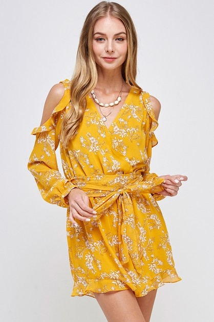 FLORAL PRINT CHIFFON RUFFLED BOTTOM  - orangeshine.com