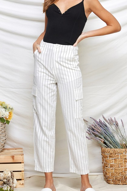 Cotton Stripe Pants - orangeshine.com