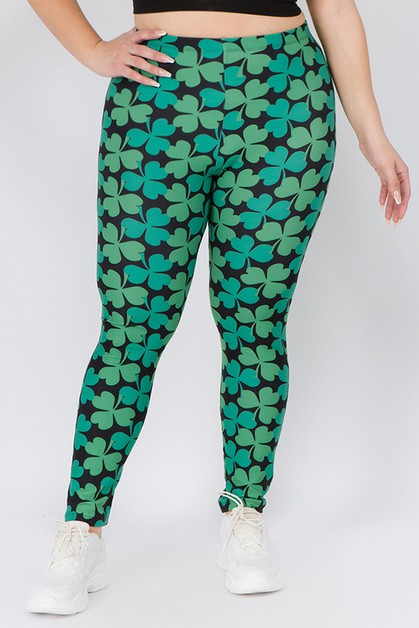 4-Leaf Clover Print Leggings - orangeshine.com