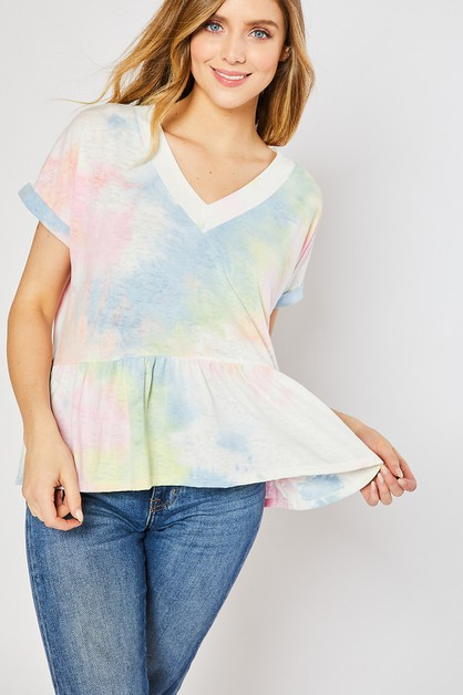 BURNOUT TIE DYE V NECK BABYDOLL KNIT - orangeshine.com