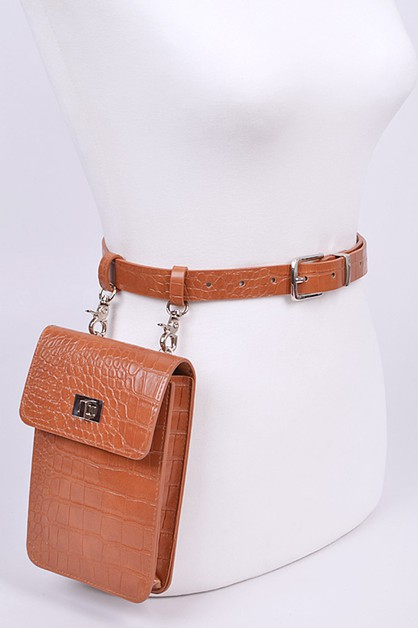 Croc Effect Convertible Belt Bag - orangeshine.com