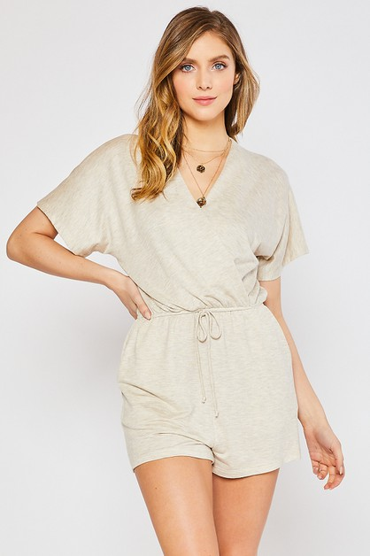 STRETCH KNIT SHORT SLEEVES ROMPER - orangeshine.com