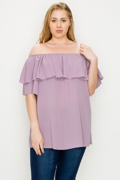 Plus Size Koshibo Solid Off Shoulder - orangeshine.com