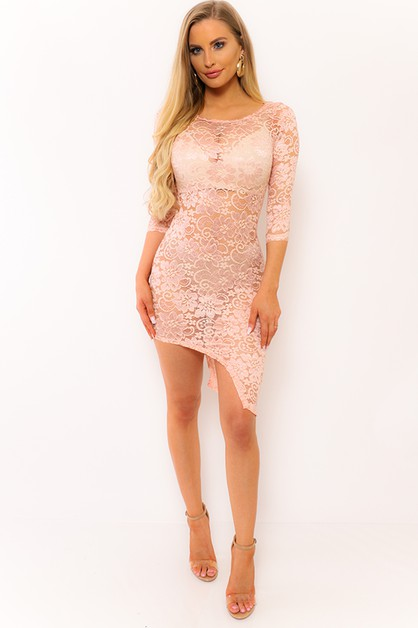 ASYMMETRICAL LACE DRESS   - orangeshine.com
