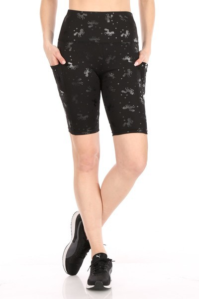 unicorn Embossed Black biker Shorts  - orangeshine.com