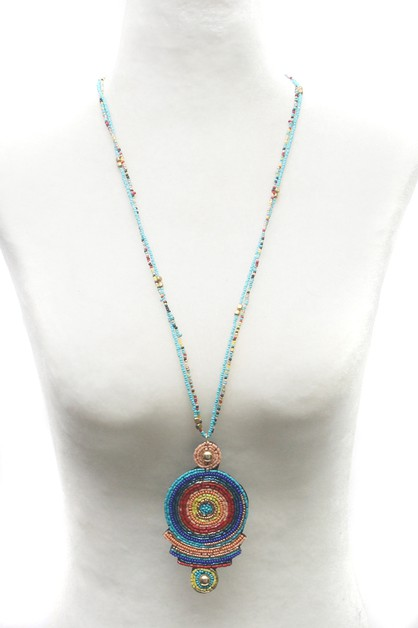 BEADS PENDANT LONG NECKLACE  - orangeshine.com