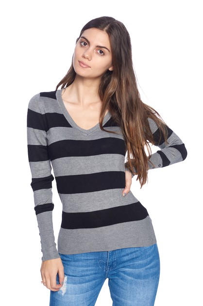 Striped Sweatshirt Top - orangeshine.com