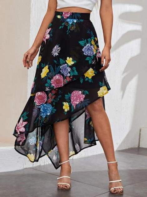Layered Floral Midi Skirt - orangeshine.com