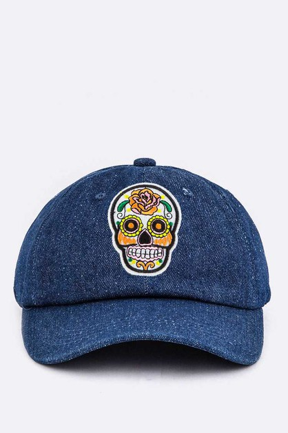 Calavera Embroidery Denim Cap - orangeshine.com