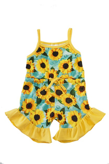 Mint sunflower print romper shortall - orangeshine.com