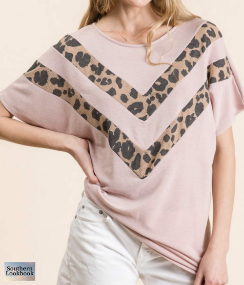 LEAPARD CHEVRON FRONT SOLID TOP - orangeshine.com