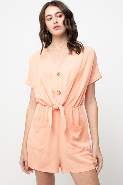 POUCH POCKET BUTTON ROMPER - orangeshine.com