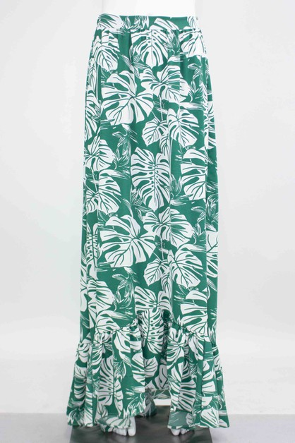 FLARED BOTTOM PRINTED MAXI SKIRT - orangeshine.com