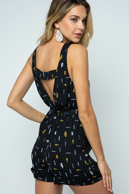 SLEEVELESS PRINTED ROMPER WITH ZIPPE - orangeshine.com