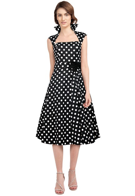 Plus Size Polka-Dot Belted Pleat Dress - orangeshine.com