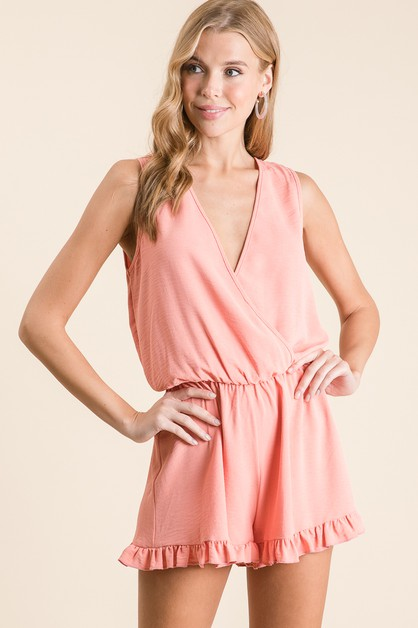 SLEEVELESS RUFFLED SHORT ROMPER - orangeshine.com