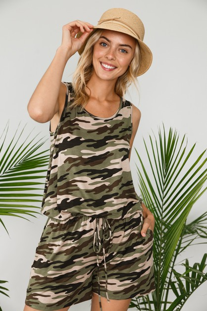 CAMOUFLAGE POCKET TANK TOP ROMPER - orangeshine.com