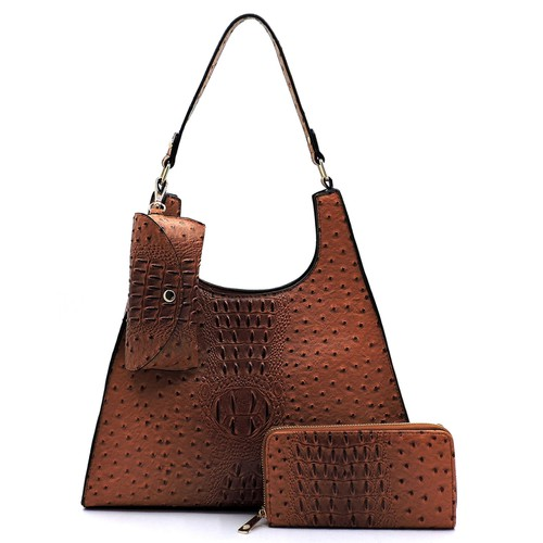 Ostrich Croc 3-in-1 Shoulder Bag - orangeshine.com
