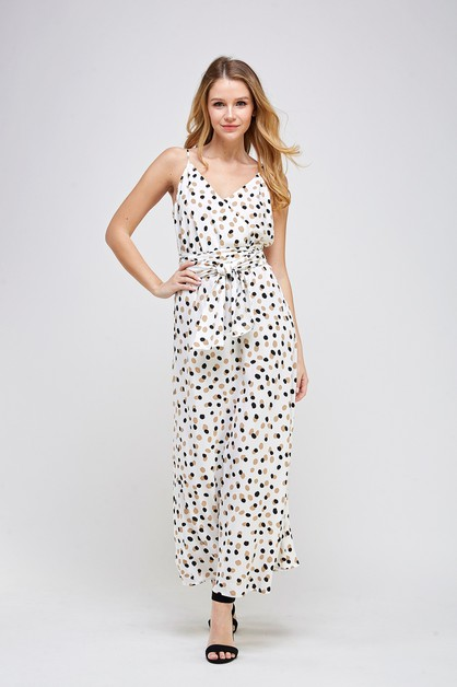 SURPLICE PRINT BELTED JUMPSUIT - orangeshine.com