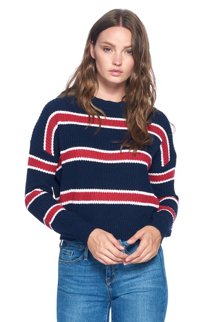 CASUAL STRIPE SWEATER - orangeshine.com