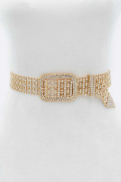 Rhinestone Statement Buckle Chain Be - orangeshine.com