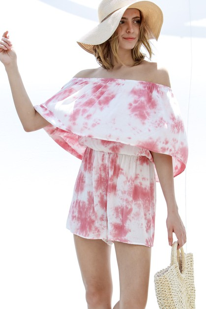 Off shoulder layered tie-dyed gauze  - orangeshine.com