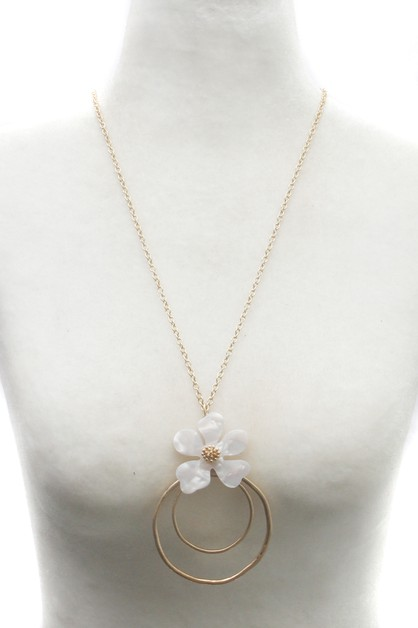 FLOWER WITH METAL LONG NECKLACE  - orangeshine.com