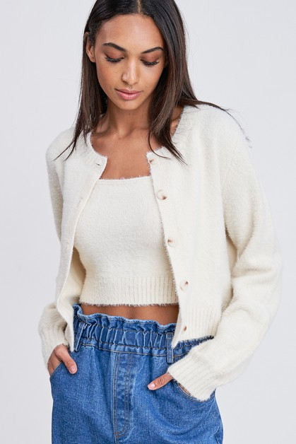 CROP FRINGED CARDIGAN WITH BUBBLE SLEEVE - orangeshine.com