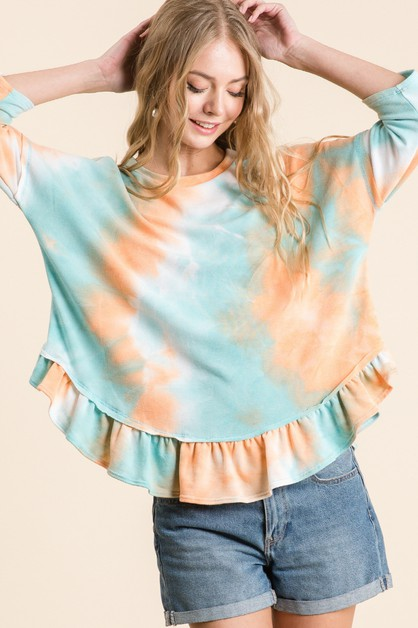 FRENCH TERRY TIE DYE PRINT TOP - orangeshine.com