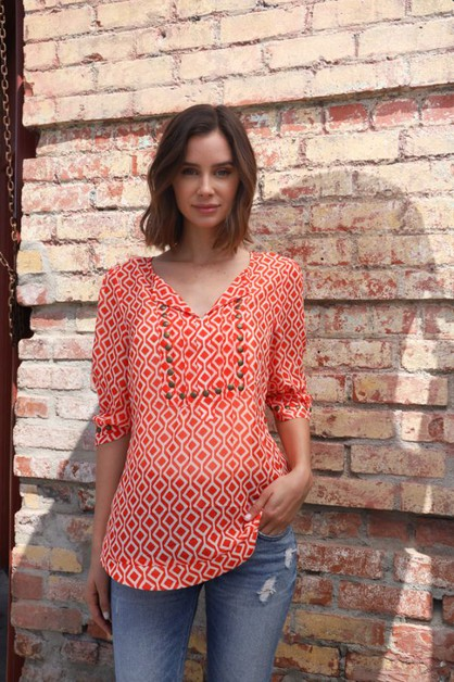 Short Sleeve Printed Top With Studs - orangeshine.com