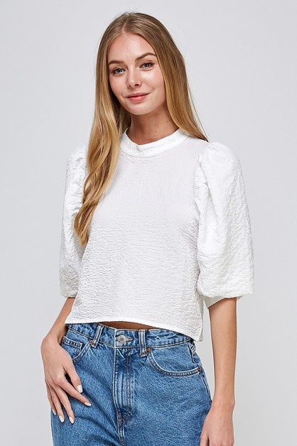 BALLOON SLEEVE BLOUSE - orangeshine.com