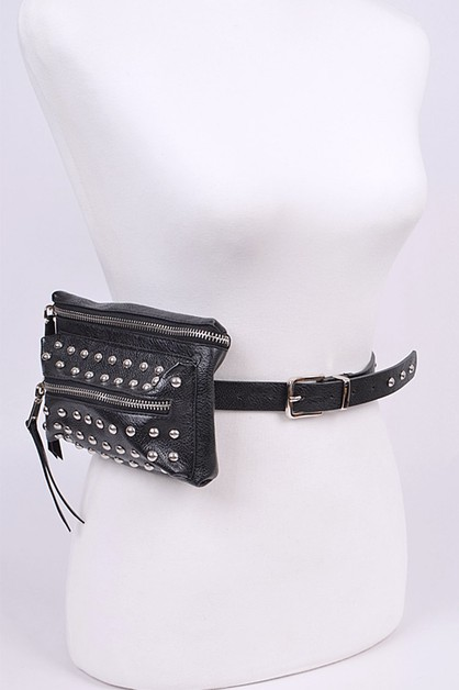 Mix Studs Multi Zip Fanny Pack - orangeshine.com
