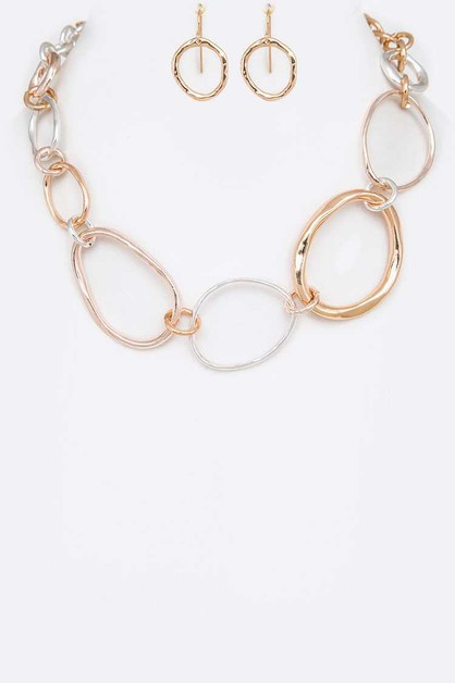Mix Tone Ring Chain Necklace Set - orangeshine.com