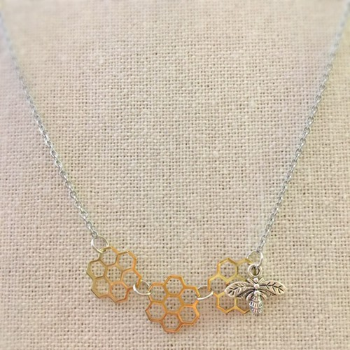 3 honeycomb bee necklace - orangeshine.com
