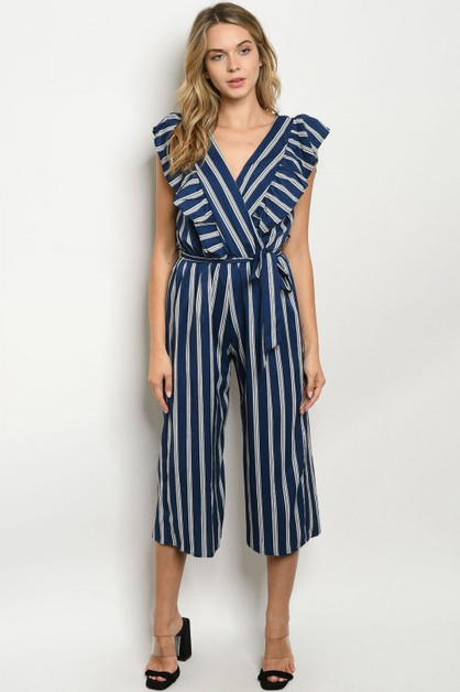 White crossover jumpsuit stripe - orangeshine.com