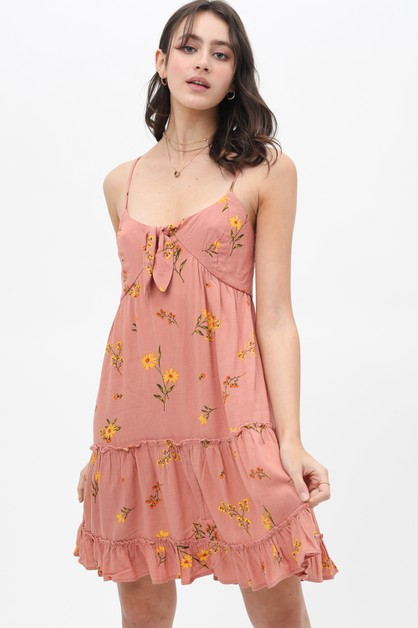 FLORAL PRINTED KNEE LENGTH DRESS - orangeshine.com