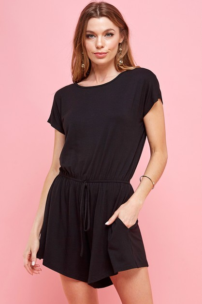 Black Short Sleeve Romper - orangeshine.com