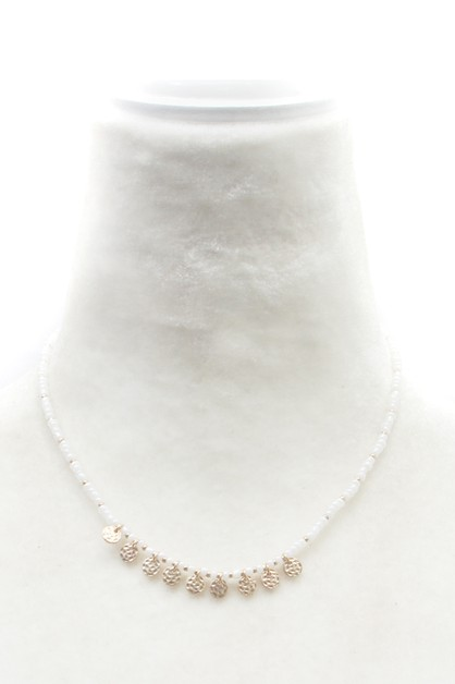PEARL CHAIN  METAL DISC NECKLACE  - orangeshine.com