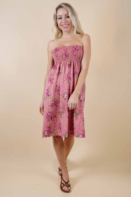Pink Floral Dress - orangeshine.com