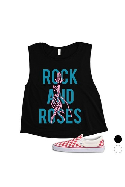 Rock And Roses Neon Sign Crop Top - orangeshine.com