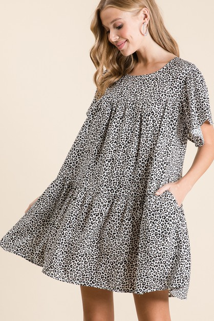 LEOPARD LOOSE FIT MINI DRESS - orangeshine.com